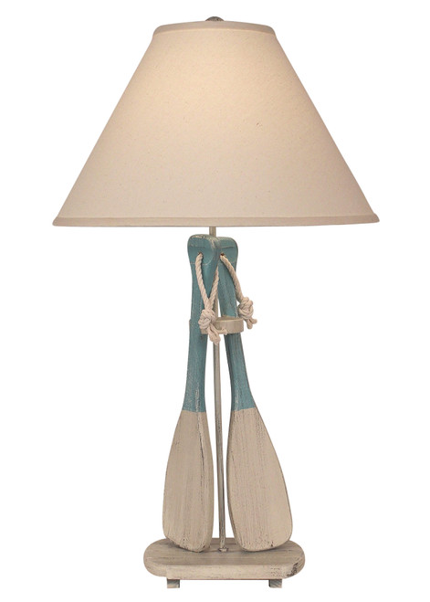 2-Paddles with White Rope Table Lamp - Turquoise
