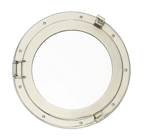 "Porthole Mirror Solid Brass -  Nickel Finish 15"""