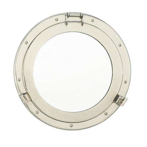 "Porthole Mirror Solid Brass - Nickel Finish  12"""