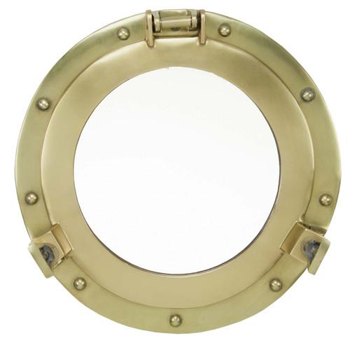 """Porthole Mirror Aluminum - Antique Brass 20"""""""