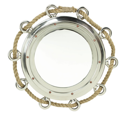Porthole Mirror with Rope - Polished Aluminum 23""