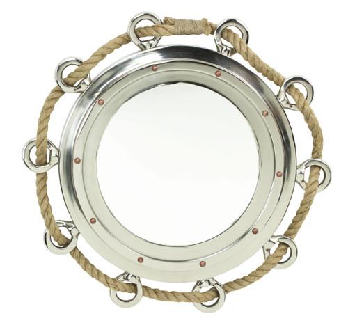 """Porthole Mirror with Rope - Polished Aluminum 32 XL"""""""
