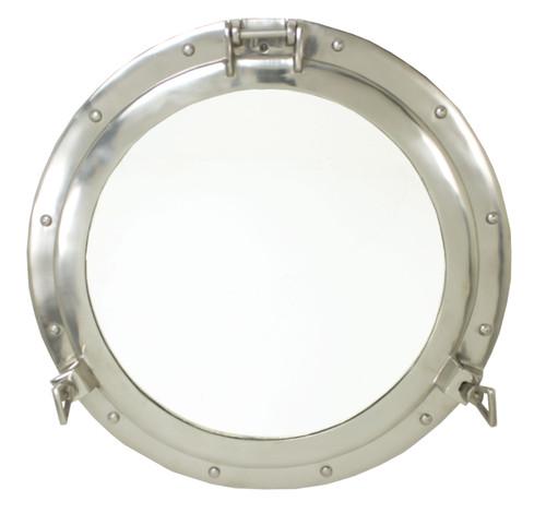 """Porthole Mirror Aluminum - Nickel Finish 24"""""""