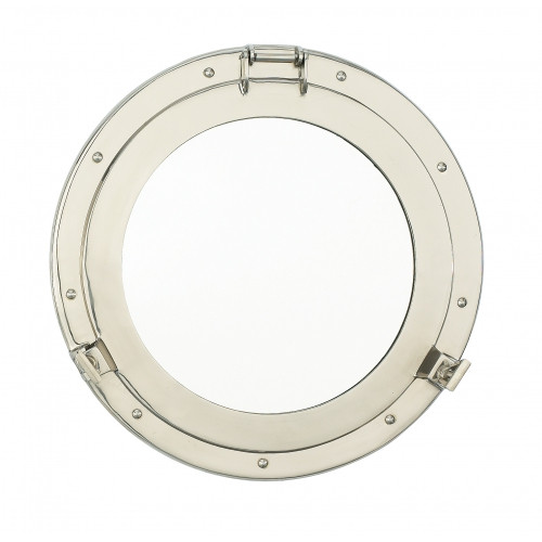 Porthole Mirror Solid Brass - Nickel Finish  20""