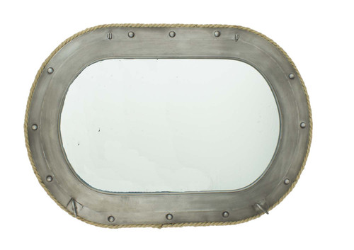 """Porthole Mirror with Rope - Metal Frame 30"""""""