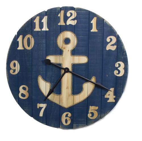 "Anchor  Clock - Wood 32"""