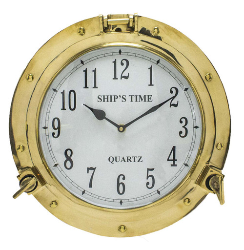 "Porthole Clock Solid Brass - 15"""