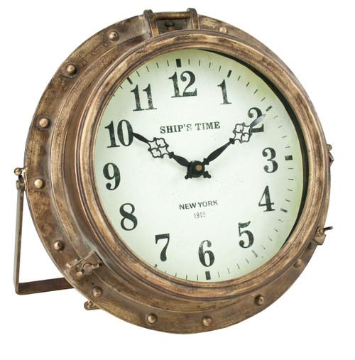 "Porthole Clock with Stand -  Iron - 14"""