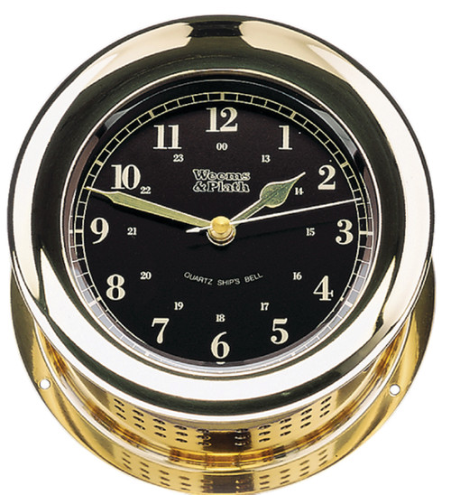 Atlantis Premiere Quartz Ship's Bell Clock, Black Dial (200101)