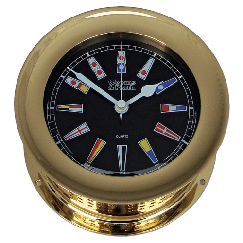 Atlantis Quartz Clock, Black Dial w/ Color Flags (200504)
