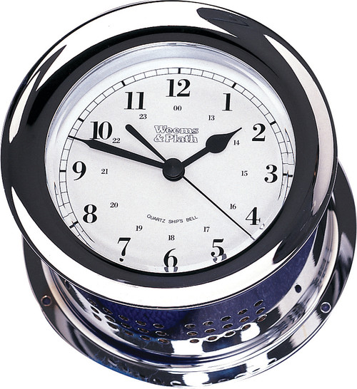Chrome Plated Atlantis Quartz Ship's Bell Clock (220100)