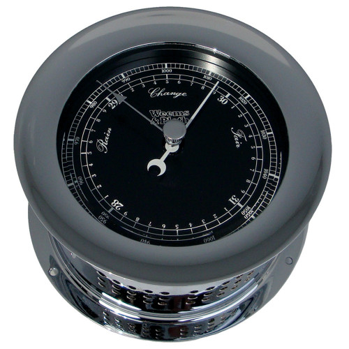 Chrome Plated Atlantis Premiere Barometer - Black Dial/ White Scale (220704)