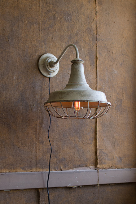 Rustic Wall Sconce Lamp with Cage