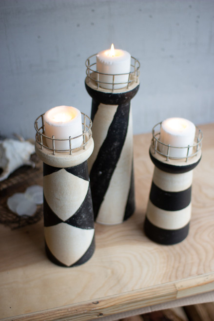 Set of 3 Clay Lighthouses