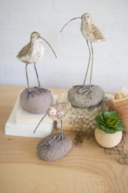 Set of 3 Painted Clay Shore Birds on Rock Bases