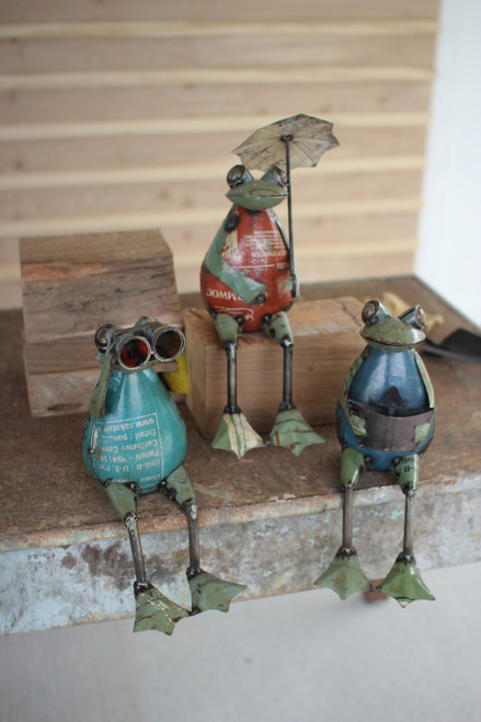 Set of Three Recycled Iron Frogs