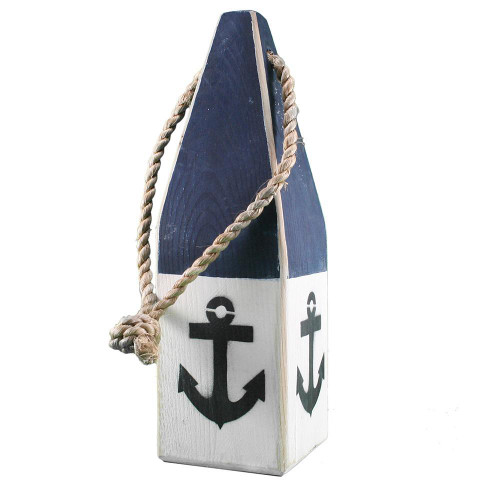 """Nautical Wood Buoy 12"""" Navy/White with Anchor"""