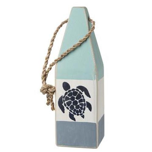 "Nautical Wood Buoy 12""  Aqua/White/Nantucket Blue with Turtle"