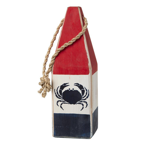 """Nautical Wood Buoy 12""""  Red/White/Navy with Crab"""