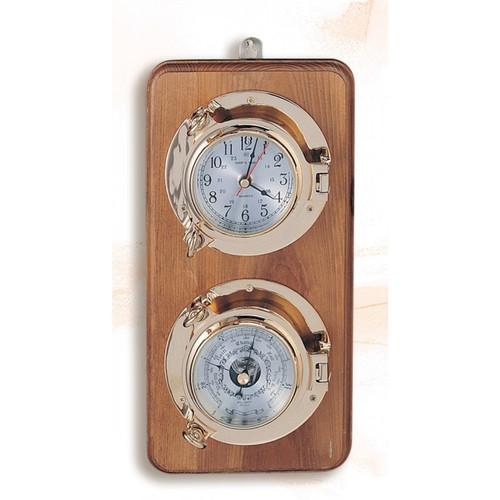 "Port Hole Clock and Barometer on Base - 12.5"""
