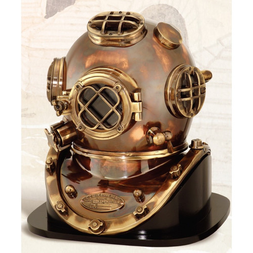 "(BP-704 (AT) 18"") 18"" Mark V Diving Helmet with Antique Finish and Wooden Base"