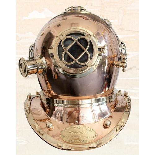 "(BP-704 (S) 18"") 18"" Standard Mark V Diving Helmet with Wooden Base"