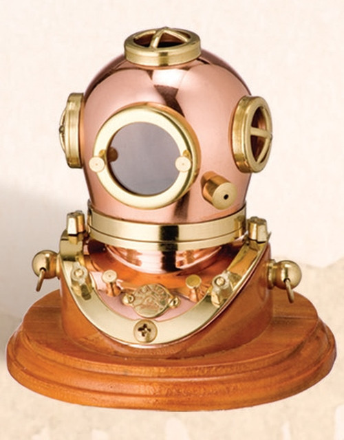"(BP-704 3"") 5"" Brass Mark V Diving Helmet with Wooden Base"