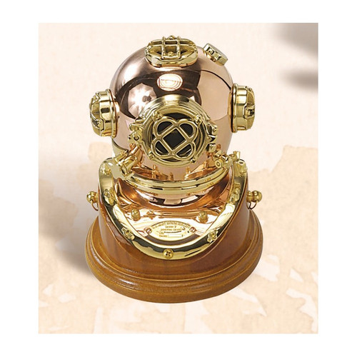 "(BP-704 5"") 5"" Brass Mark V Diving Helmet with Wooden Base"