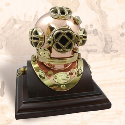 "(BP-704-3A) 3"" Brass Mark V Diving Helmet with Wooden Base"