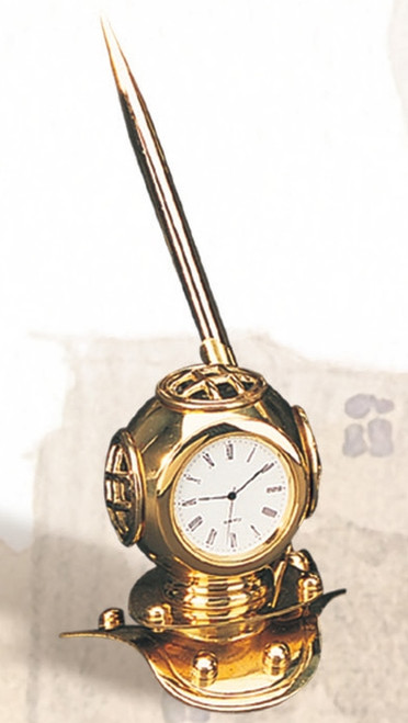 "Diving Helmet Clock Pen Holder with Laquer Coating - 3.5"""