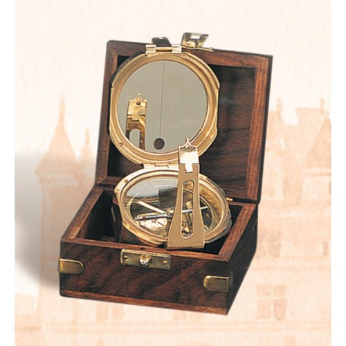"(BW-663) 4"" Brass Brunton Compass with Wooden Display Box"