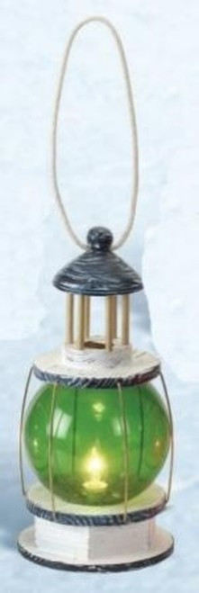 "Green Ball Lighthouse Lantern - Electric - 5"" x 11""H."