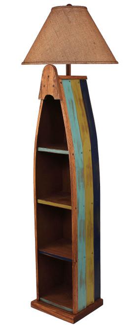 Bright Stripe Wooden Boat Floor Lamp