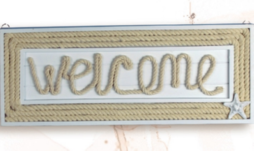 """Welcome"" Rope Plaque with Starfish - 12 3/4"" (MP-2009)"