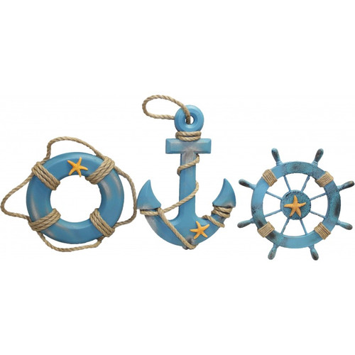 Anchor, Life Ring, and  Ship's Wheel Wall Decor - Set of 3
