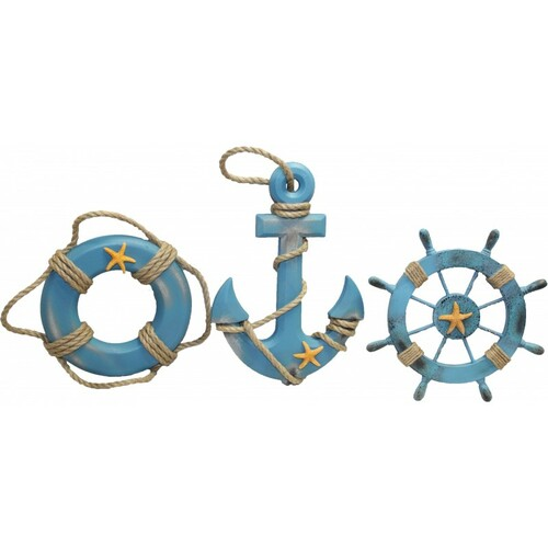 Anchor, Life Ring, and  Ship's Wheel Wall Decor - Set of 3
