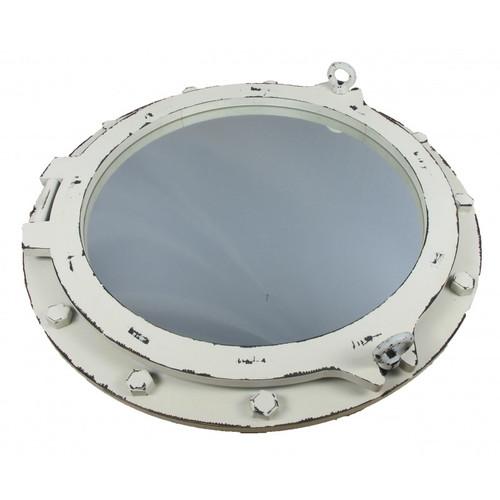 "Wooden Porthole Mirror with Antique White Finish - 24"""