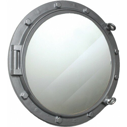 """Wooden Porthole Mirror with Silver Finish - 24"""""""