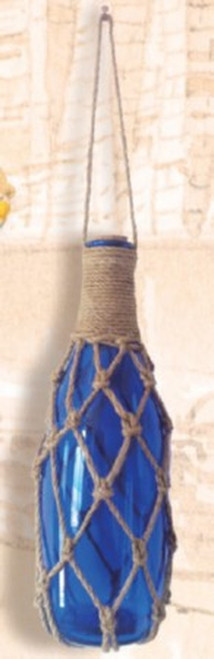 Glass Bottle Float with Net - Blue