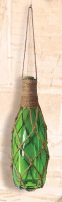 Glass Bottle Float with Net - Green