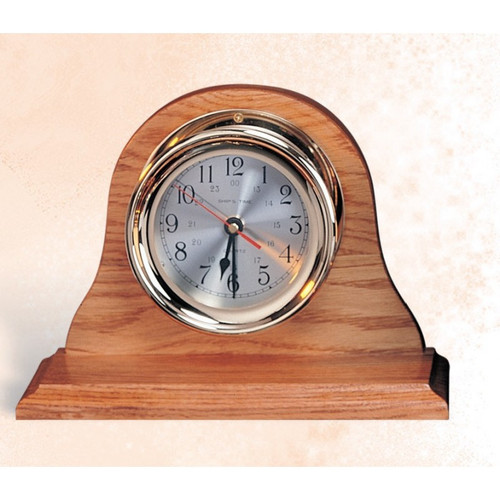 "(TK-204 4.5"" (LC)) 4.5"" Lacquer Coated Brass Clock with Wooden Base"
