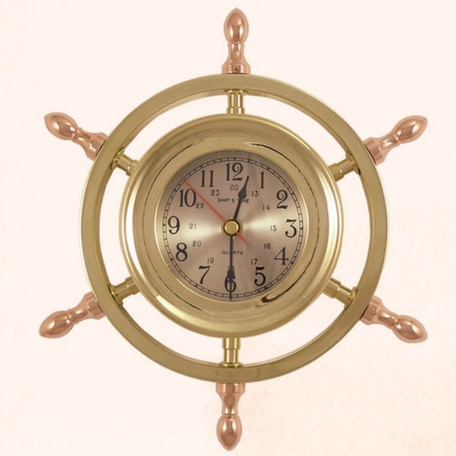 "(TK-205) 9"" Brass Ship Wheel Captain Clock with Copper Spokes"