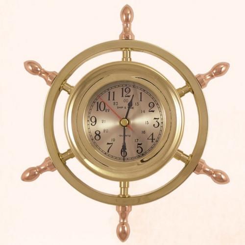 "(TK-205) 9"" Brass Ship Wheel Captain Clock with Copper Spokes"