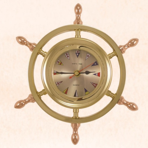 "(TK-206) 9"" Brass Ship Wheel Captain Clock with Flag Face and Copper Spokes"