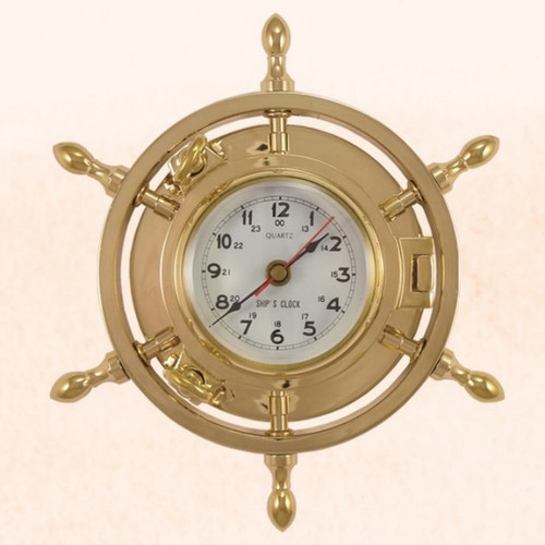 "(TK-207) 9"" Brass Porthole Ship Wheel Clock with Copper Spokes"