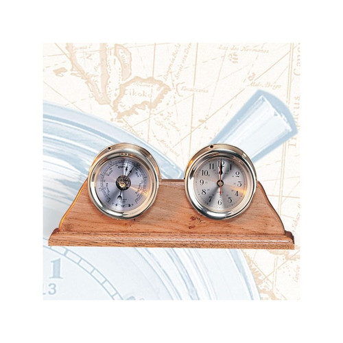"""(TK-209)  4.5"""" Captain Clock and Barometer with Wooden Base"""