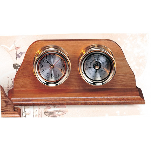 "(TK-210C) Premium 7.5"" Clock and Barometer with Wooden Base"