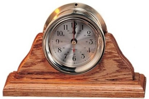 "(TK-212) 4.5"" Captain's Clock with Wooden Base"