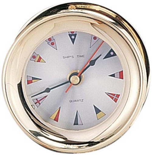 "(TK-225FC 4.5"") 4.5"" Lacquer Coated Captain Clock with Flag Face"