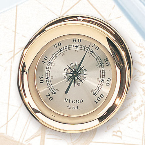 "(TK-225HC)  4.5"" Lacquer Coated Brass Captain Hygrometer"